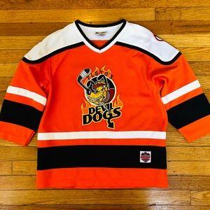 Plutos Devil Dogs Kids Jersey Size L 10 12 Orange